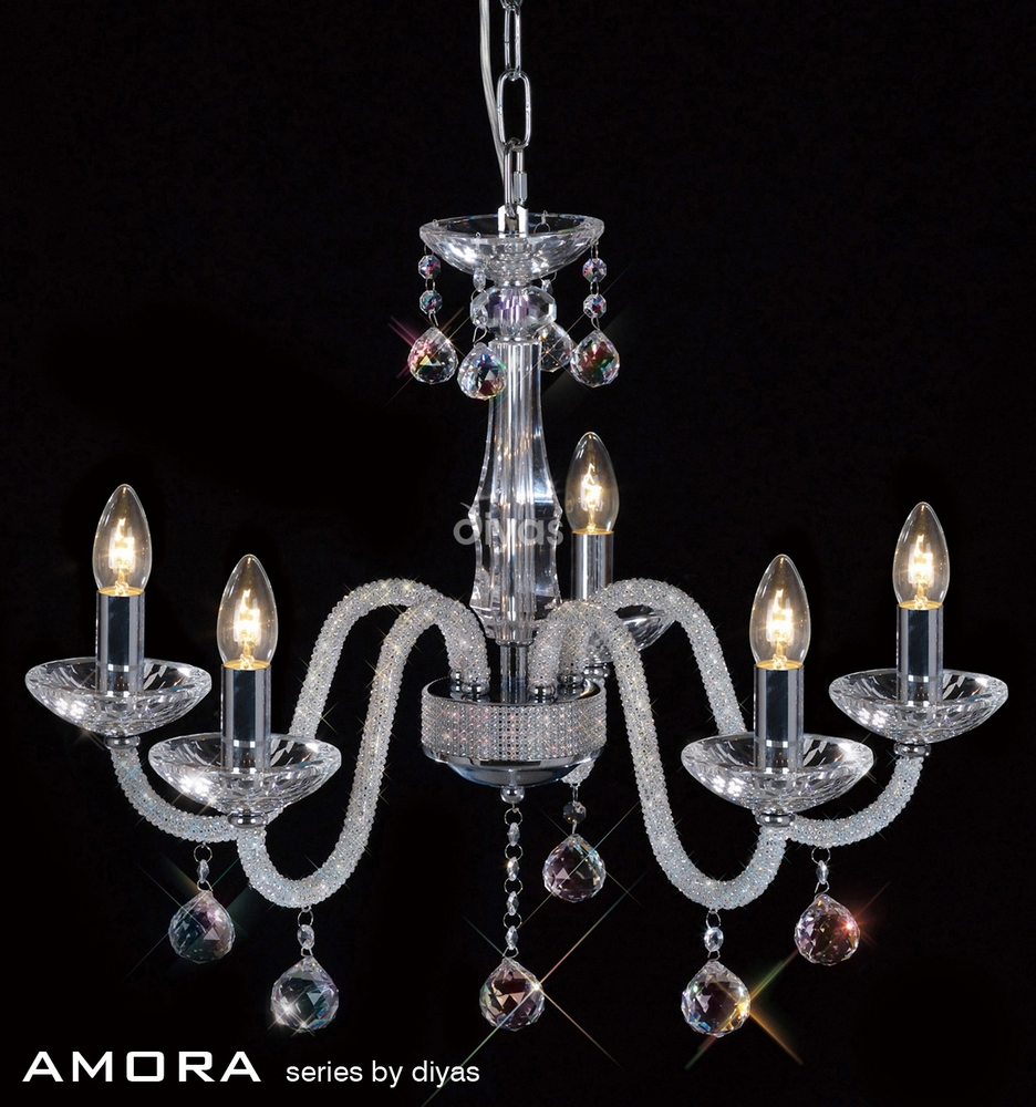Amora Pendant 5 Light Chrome/Crystal & Lights Up Pune exclusive showroom complete lighting solutions ... azcodes.com