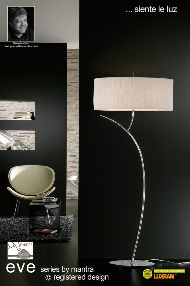 Lights up pune exclusive showroom complete lighting solutions floor 2 light polished chrome with white shade eve1139 aloadofball Image collections