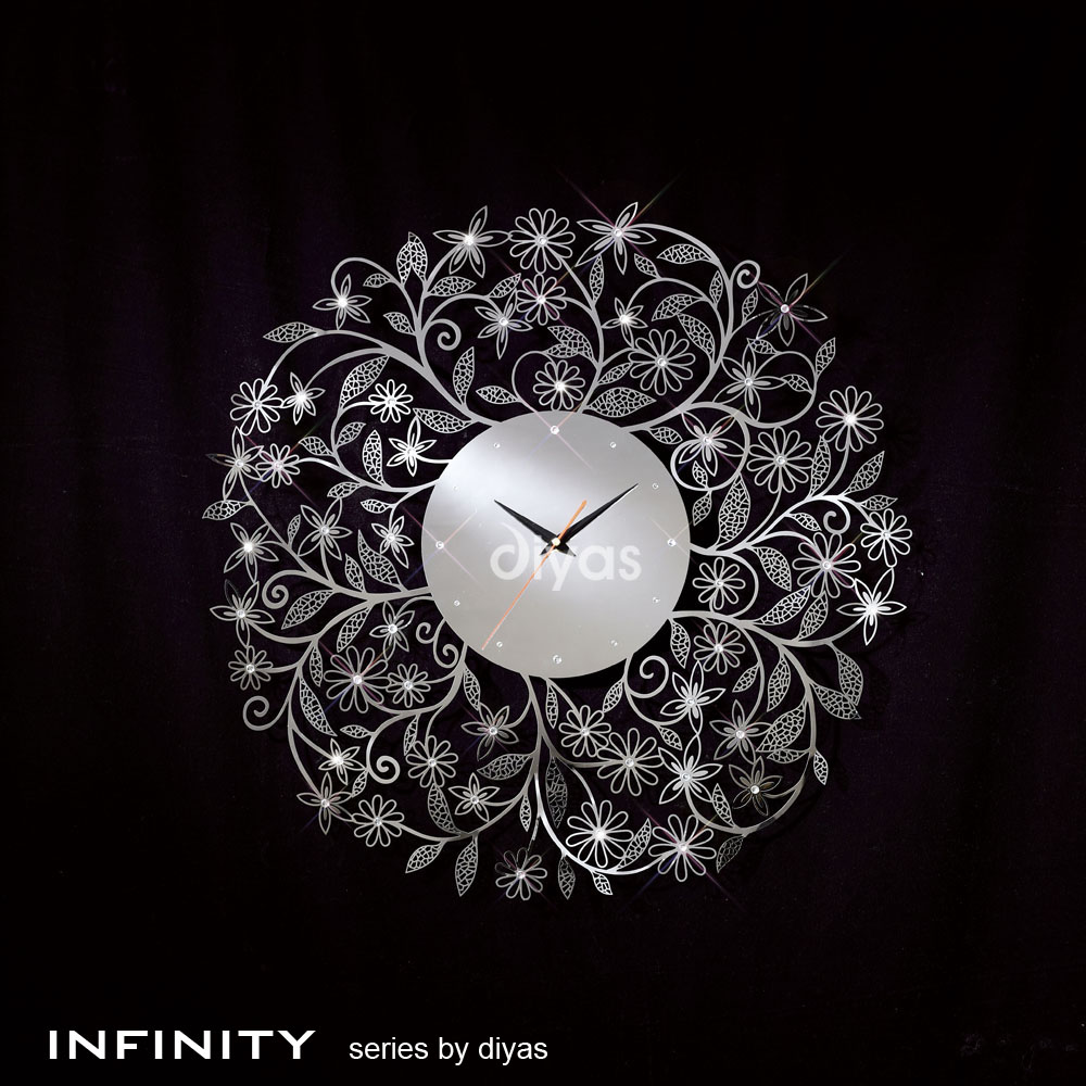 (DH) Infinity Wall Art Clock With A Floral Design Stainless Steel With Clear Diamante Crystal & Lights Up Pune exclusive showroom complete lighting solutions ...