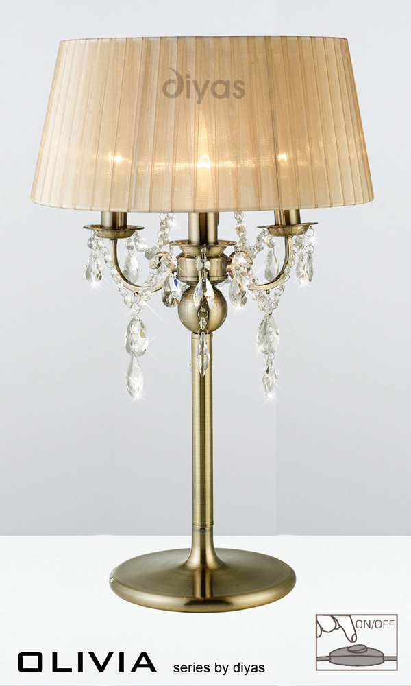 Olivia Table Lamp 3 Light Antique Br Crystal