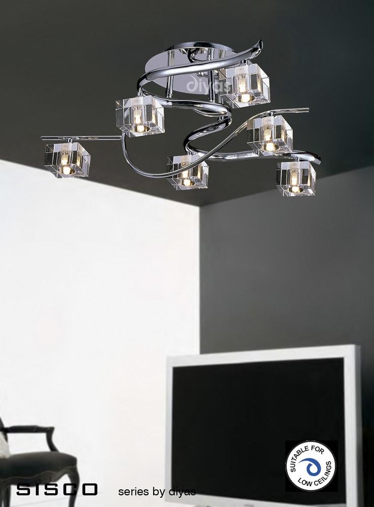 Sisco Ceiling 6 Light Chrome With Crystal Gl Shades